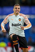 Valencia CF forward Rodrigo (19) warms up ahead of the Champions League match between Chelsea and Valencia CF at Stamford Bridge, London, England on 17 September 2019.