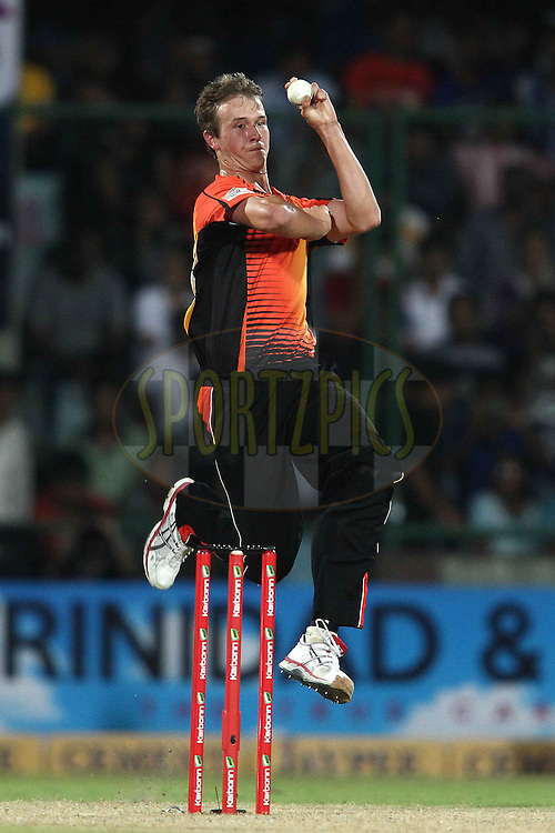 Joel Paris of Perth Scorchers sends down a delivery during match 19 of the Karbonn Smart Champions League T20 between the Perth Scorchers and the Mumbai Indians held at the Feroz Shah Kotla Stadium, Delhi on the 2nd October 2013<br /> <br /> <br /> Photo by Shaun Roy-CLT20-SPORTZPICS <br /> <br /> Use of this image is subject to the terms and conditions as outlined by the CLT20. These terms can be found by following this link:<br /> <br /> http://sportzpics.photoshelter.com/image/I0000NmDchxxGVv4