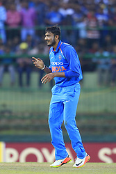 August 27, 2017 - Kandy, Sri Lanka - Indian cricketer Axar Patel celebrates during the 3rd One Day International cricket match between Sri Lanka and India at the Pallekele international cricket stadium at Kandy, Sri Lanka on Sunday 27 August 2017. (Credit Image: © Tharaka Basnayaka/NurPhoto via ZUMA Press)