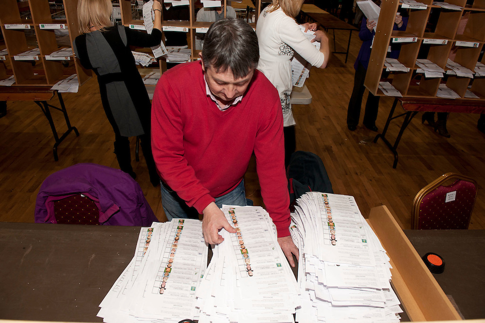 Castlebar Count Centre, checking Michael Rings vote at the royal theatre castlebar, Co.Mayo..Pic: Michael Mc Laughlin
