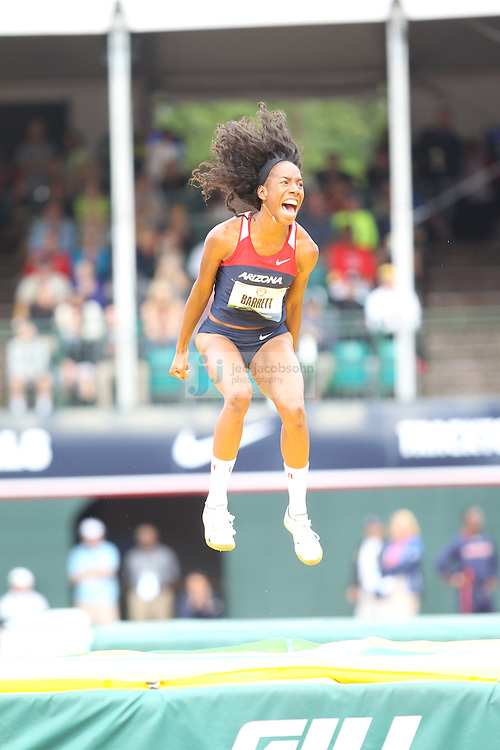 Brigetta Barrett celebrates in the finals for the high jump during day 9 of the U.S. Olympic Trials for Track & Field at Hayward Field in Eugene, Oregon, USA 30 Jun 2012..(Jed Jacobsohn/for The New York Times)....