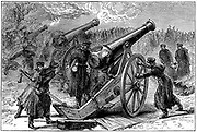 Franco-Prussian War 1870-1871. Prussian guns trained on besieged city of Paris, January 1871. Wood engraving c1880.