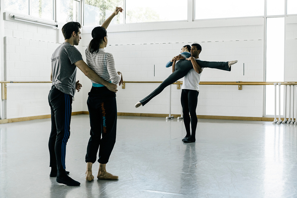 Dancers, from left, Corey Landolt, Sona Kharatian, Sarah Steele, and Gian Carlos Perez of the Washingon Ballet work on choreography with Ethan Stiefel during rehearsals for Frontier on May 3, 2017. The piece is Julie Kent's' first commission as new director'. The ballet is about space exploration, and the costumes, designed by Ted Southern of Final Frontier Design, look similar to what astronauts wear.