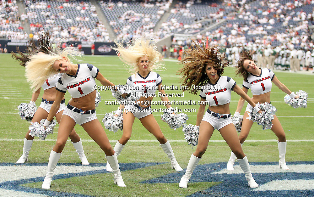13 September 2009: Houston texans cheerleaders dance while the  New York Jets played against the Houston Texans at Reliant Stadium on September 13, 2009 in Houston, Texas. The Jets defeated the Texans 24 to 7.