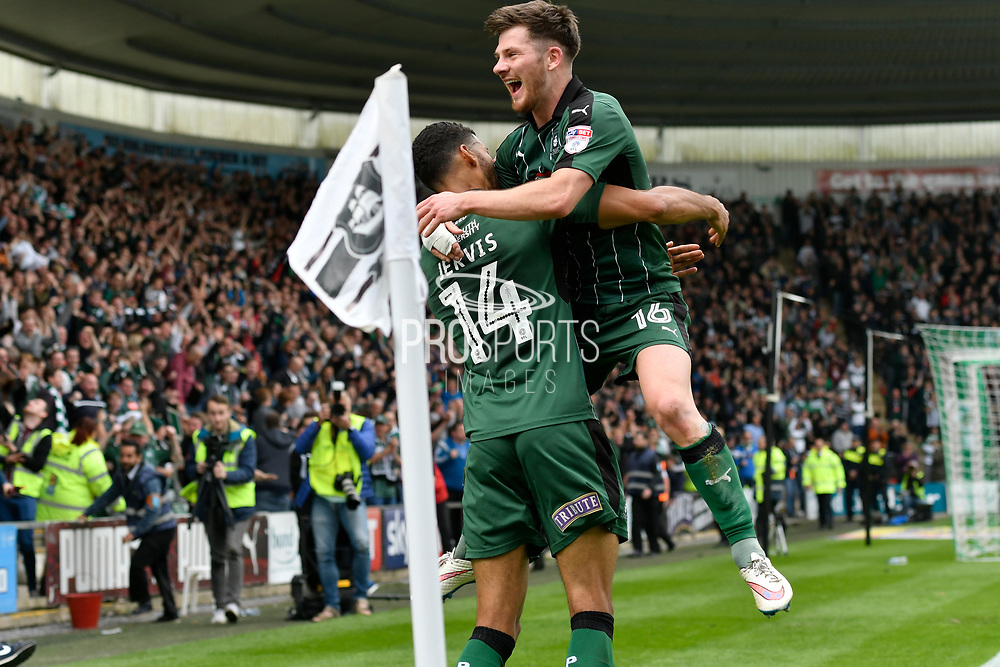Jake Jervis (14) of Plymouth Argyle celebrates scoring a goal to give a 2-0 lead to the home team with Matthew Kennedy (16) of Plymouth Argyle during the EFL Sky Bet League 2 match between Plymouth Argyle and Newport County at Home Park, Plymouth, England on 17 April 2017. Photo by Graham Hunt.