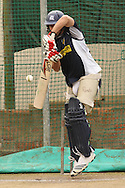 Bradley Hodge of the Victorian Bushrangers attempts to defend a delivery during the Bushrangers training session held at St Georges Park in Port Elizabeth on the 17 September 2010..Photo by: Shaun Roy/SPORTZPICS/CLT20