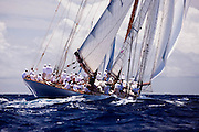 Elena sailing in the Old Road Race at the 2011 Antigua Classic Yacht Regatta.