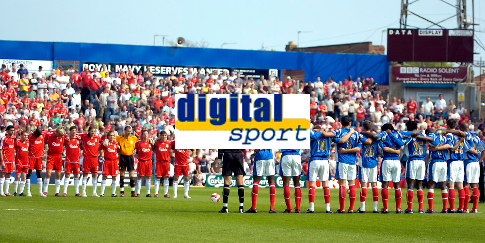 Photo: Ed Godden.<br /> Portsmouth v Liverpool. The Barclays Premiership. 28/04/2007. Portsmouth and Liverpool players take part in a 1 minute applause dedicated to Alan Ball.