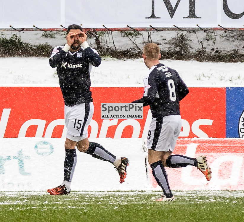 Dundee's Kane Hemmings celebrates after opening the scoring from the spot during the Partick Thistle FC V Dundee FC Scottish Premiership game, 16th January 2016; (c) BERNIE CLARK | SportPix.org.uk