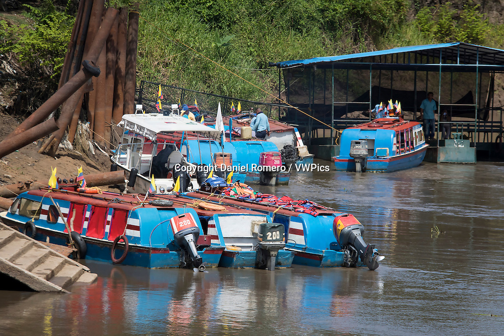 River transport on the river Magdalena. Jetty passenger boats. The Momposina depression, municipality of Cicuco, department of Bolivar, Colombia.