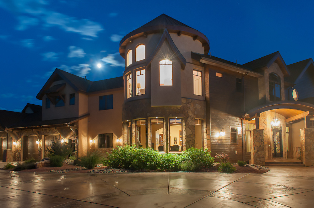 Mountain estate in east Zion, Utah. Million dollar mansion, architectural photography,