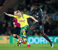 Alex Pritchard of Norwich and Tiemoue Bakayoko of Chelsea in action during the FA Cup match at Carrow Road, Norwich<br /> Picture by Paul Chesterton/Focus Images Ltd +44 7904 640267<br /> 06/01/2018