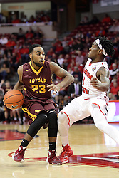 06 January 2016: Jeff White(23) defended by Paris Lee(1) during the Illinois State Redbirds v Loyola-Chicago Ramblers at Redbird Arena in Normal Illinois (Photo by Alan Look)