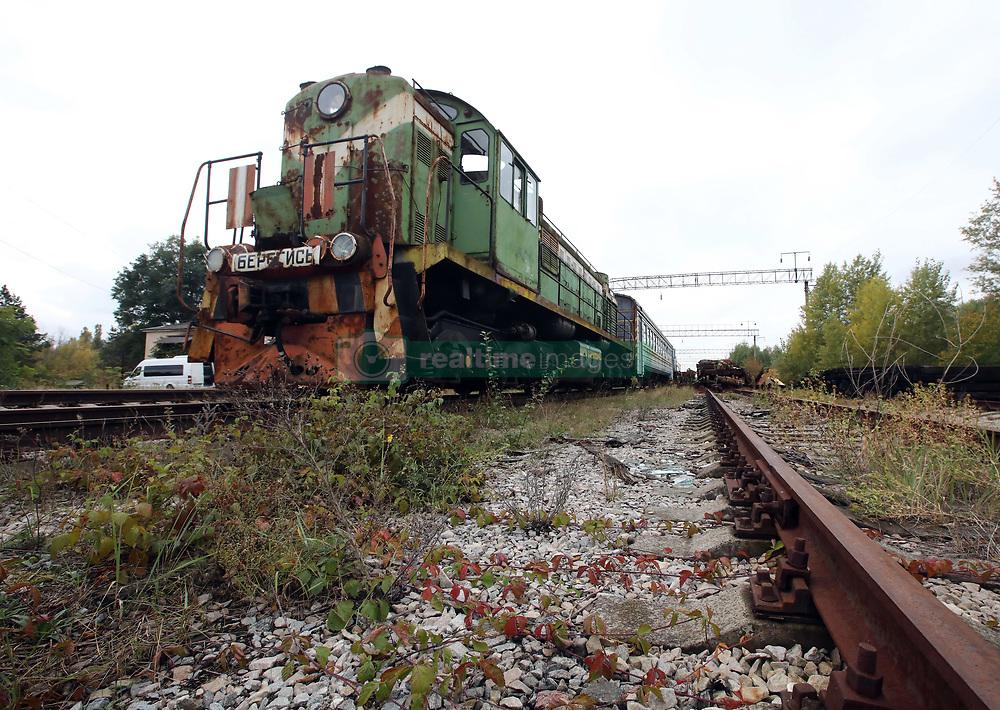 October 2, 2018 - Chornobyl Exclusion Zone, Kyiv R, Ukraine - A rust-ridden locomotive is seen on the tracks at the abandoned Yaniv railway station in the Chornobyl (Chernobyl) Exclusion Zone, Kyiv Region, northern Ukraine, October 2, 2018. Ukrinform. (Credit Image: © Tarasov/Ukrinform via ZUMA Wire)