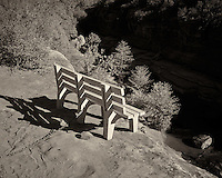 Bench on the Edge of a Cliff. Rock Slide State Park, Arizona. Image taken with a Leica X2 camera (ISO 100, 24 mm, f/5.6, 1/400 sec). Image converted to B&W in Capture One Pro 7. Nikonians ANPAT-13.