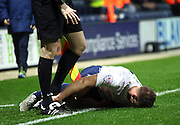 Marnick Vermijl goes down injured during the Sky Bet Championship match between Preston North End and Bolton Wanderers at Deepdale, Preston, England on 31 October 2015. Photo by Pete Burns.