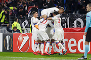 Rafael of Lyon and Mariano Diaz of Lyon and Bertrand Traore of Lyon during the UEFA Europa League, Round of 32, 1st leg football match between Olympique Lyonnais and Villarreal on February 15, 2018 at Groupama stadium at Decines-Charpieu near Lyon, France - Photo Romain Biard / Isports / ProSportsImages / DPPI