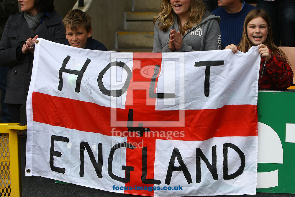 Picture by Paul Chesterton/Focus Images Ltd.  07904 640267.14/04/12.The home fans show their support for the call for Grant Holt of Norwich to be called up for the England squad before the Barclays Premier League match at Carrow Road Stadium, Norwich.