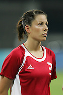 15 August 2008: Emily Zurrer (CAN).  The women's Olympic team of the United States defeated the women's Olympic soccer team of Canada 2-1 after extra time at Shanghai Stadium in Shanghai, China in a Quarterfinal match in the Women's Olympic Football competition.
