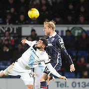 Ross County&rsquo;s Andrew Davies outjumps Dundee&rsquo;s Kane Hemmings - Ross County v Dundee, Ladbrokes Premiership at Victoria Park<br /> <br />  - &copy; David Young - www.davidyoungphoto.co.uk - email: davidyoungphoto@gmail.com