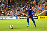 Joseph-Claude Gyau (36) of FC Cincinnati chases down the ball during a MLS soccer game, Wednesday, September 18, 2019, in Cincinnati, OH. Atlanta defeated Cincinnati 2-0. (Jason Whitman/Image of Sport)