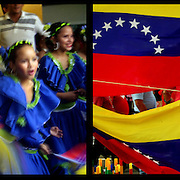 DAILY VENEZUELA II / VENEZUELA COTIDIANA II<br /> Photography by Aaron Sosa <br /> <br /> Left: Cultural event, Bolivarian School, Caracas - Venezuela 2005 / Acto cultural, Escuela Bolivariana, Caracas - Venezuela 2005<br /> <br /> Right: March Supporters of Hugo Chavez, Caracas - Venezuela 2007 / Marcha de Simpatizantes de Hugo Chavez, Caracas - Venezuela 2007<br /> <br /> (Copyright © Aaron Sosa)