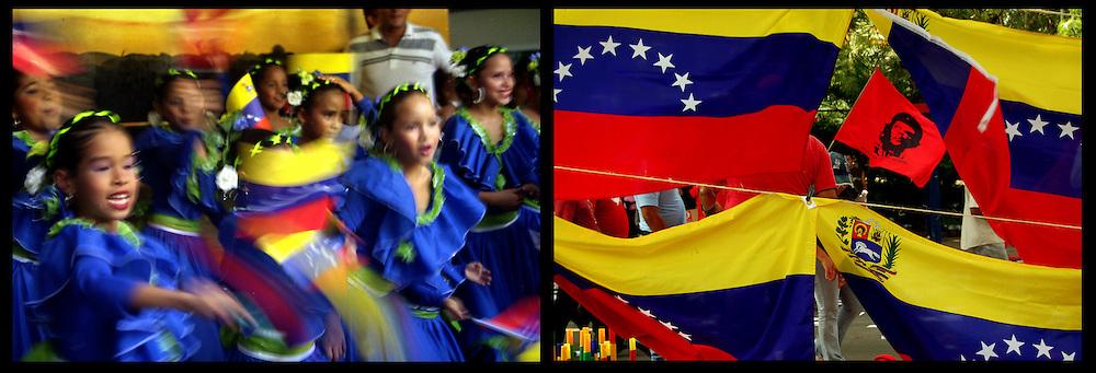 DAILY VENEZUELA II / VENEZUELA COTIDIANA II<br /> Photography by Aaron Sosa <br /> <br /> Left: Cultural event, Bolivarian School, Caracas - Venezuela 2005 / Acto cultural, Escuela Bolivariana, Caracas - Venezuela 2005<br /> <br /> Right: March Supporters of Hugo Chavez, Caracas - Venezuela 2007 / Marcha de Simpatizantes de Hugo Chavez, Caracas - Venezuela 2007<br /> <br /> (Copyright © Aaron Sosa)
