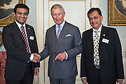 HRH The Prince of Wales with Aditya Handa and Pankaj Patel of Abellon CleanEnergy, India