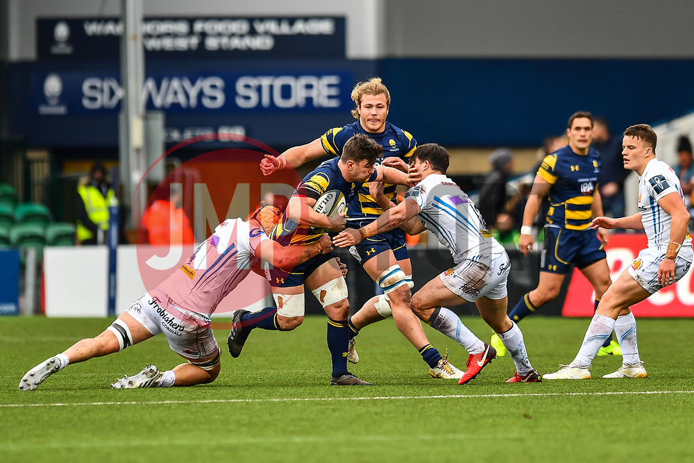 Sam Lewis of Worcester Warriors is tackled by Ollie Atkins of Exeter Chiefs - Mandatory by-line: Craig Thomas/JMP - 27/01/2018 - RUGBY - Sixways Stadium - Worcester, England - Worcester Warriors v Exeter Chiefs - Anglo Welsh Cup