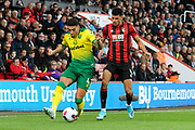 Ben Godfrey (4) of Norwich City battles for possession with Dominic Solanke (9) of AFC Bournemouth during the Premier League match between Bournemouth and Norwich City at the Vitality Stadium, Bournemouth, England on 19 October 2019.