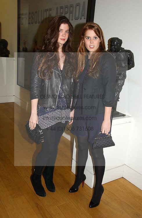 Left to right, ALEX CRONAN and PRINCESS BEATRICE OF YORK at the opening of an exhibition entitled Exceptional Youth supported by Teen Vogue at the National Portrait Gallery, London on 3rd November 2006.<br />