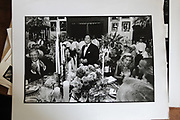 Saul Steinberg, at his 50th birthday party. Quogue. 1989. Robert Mosbacher far left, Henry Kravis far right.