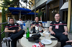 NOVI SAD, SERBIA - Tuesday, September 11, 2012: Dave Weeks, Medical Officer Doctor Mark Ridgewell, masseur David Rowe at the Park Hotel in Novi Sad, Serbia. (Pic by David Rawcliffe/Propaganda)