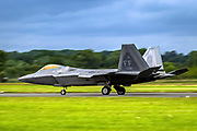 Lockheed Martin F-22 Raptor is a fifth-generation, single-seat, twin-engine, all-weather stealth tactical fighter aircraft developed for the United States Air Force (USAF). Photographed at Royal International Air Tattoo (RIAT)