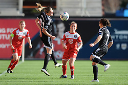 FFC Frankfurt's Ana Maria Crnogorcevic flicks the ball on - Photo mandatory by-line: Dougie Allward/JMP - Mobile: 07966 386802 - 21/03/2015 - SPORT - Football - Bristol - Ashton Gate Stadium - Bristol Academy v FFC Frankfurt - UEFA Women's Champions League - Quarter Final - First Leg