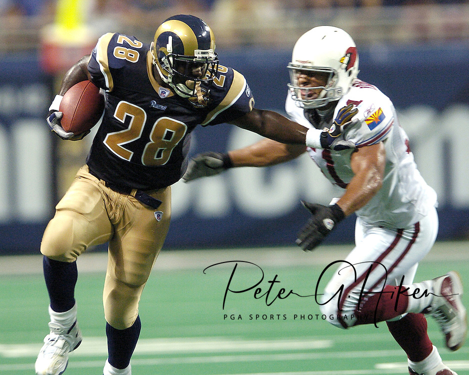 St. Louis Rams runningback Marshall Faulk (28) during action against Arizona at the Edward Jones Dome in St. Louis, Missouri.