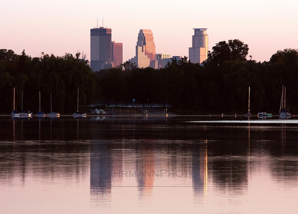 Skyline of the city of Minneapolis as seen over Lake Nokomis