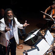 "December 16, 2011 - Brooklyn, NY : Wadada Leo Smith leads his ""Silver Orchestra"" as they perform during a concert in celebration of Leo's 70th birthday at Roulette in Brooklyn on Friday night. CREDIT: Karsten Moran for The New York Times"
