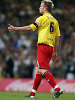Photo: Rich Eaton.<br /> <br /> Leeds United v Watford. Coca Cola Championship. Play off Final. 21/05/2006.<br /> <br /> Watfords Jay Demerit gives the thumbs up to players and fans after scoring the opening goal of the game