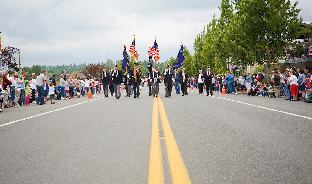 A military color guard starting off an Independence Day parade in Blaine, WA 2008.