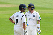 Jonathan Trott of Warwickshire and Ian Bell of Warwickshire talking between overs during the Specsavers County Champ Div 1 match between Somerset County Cricket Club and Warwickshire County Cricket Club at the Cooper Associates County Ground, Taunton, United Kingdom on 19 May 2017. Photo by Graham Hunt.