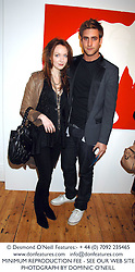 OLIVIA GRANT and actor OLIVER JACKSON-COHEN son of designer Betty Jackson at an exhibition of artist Natasha Law's work entitled 'Room' hosted by the Eleven gallery in association with Ruinart champagne at 121 Charing Cross Road, London WC2 on 16th January 2008.  Following the private view a dinner was held at Soho House hosted by Ruinart.