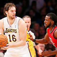 03 November 2013: Los Angeles Lakers power forward Pau Gasol (16) posts up Atlanta Hawks small forward DeMarre Carroll (5) during the Los Angeles Lakers 105-103 victory over the Atlanta Hawks at the Staples Center, Los Angeles, California, USA.