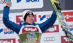 04.01.2015, Bergisel Schanze, Innsbruck, AUT, FIS Ski Sprung Weltcup, 63. Vierschanzentournee, Innsbruck, Siegerehrung, im Bild Stefan Kraft (AUT, 2. Platz) // second placed Stefan Kraft of Austria celebrate on podium during the awards ceremony for the 63rd Four Hills Tournament of FIS Ski Jumping World Cup at the Bergisel Schanze in Innsbruck, Austria on 2015/01/04. EXPA Pictures © 2015, PhotoCredit: EXPA/ Jakob Gruber