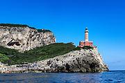 Lighthouse at Punta Carena, Capri Island, Province of Naples, Campania, Italy.