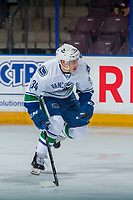 PENTICTON, CANADA - SEPTEMBER 8: Jakob Stukel #34 of Vancouver Canucks skates against the Winnipeg Jets on September 8, 2017 at the South Okanagan Event Centre in Penticton, British Columbia, Canada.  (Photo by Marissa Baecker/Shoot the Breeze)  *** Local Caption ***