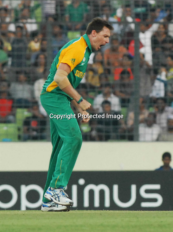 Dale Steyn of South Africa celebrates the wicket of Nathan McCullam during the ICC Cricket World Cup quarter final match between South Africa and New Zealand held at the Shere Bangla National Stadium, Mirpur, Bangladesh on the 25 March 2011..Photo by SPORTZPICS