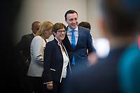 DEU, Deutschland, Germany, Berlin, 24.07.2019: CDU-Generalsekretär Paul Ziemiak und CDU-Chefin und Bundesverteidigungsministerin Annegret Kramp-Karrenbauer vor Beginn der Fraktionssitzung der CDU/CSU.