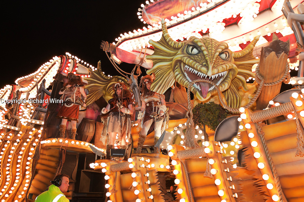 Side view of The Odyssey by Masqueraders CC at North Petherton Guy Fawkes Carnival 2010.