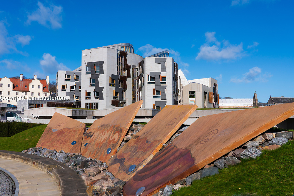 Exterior view of Scottish Parliament building at Holyrood in Edinburgh, Scotland,UK